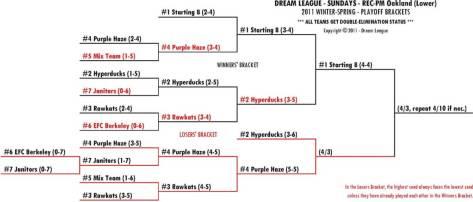 2011 Winter-Spring Sundays REC-PM Lower Playoff Bracket for 4/3