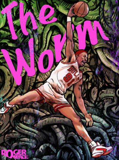 Roger Huang http://hoopeduponline.com/2011/09/21/dennis-rodman-the-worm-art/